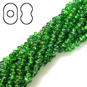 Farfalle 3.2x6.5mm Green Luster S/L - 6 Strings of 20 Inch (Apx 936 Beads, 125 Gm)