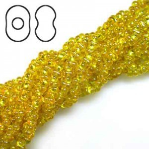 Farfalle 3.2x6.5mm Yellow Luster S/L - 6 Strings of 20 Inch (Apx 936 Beads, 125 Gm)