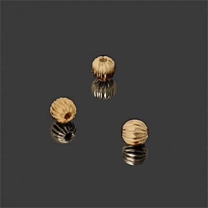 5mm Corrugated Round Bead Forever Gold™ 10pcs