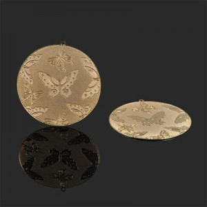 39mm Butterfly Bas-Relief Medallion Forever Gold™ 1pc