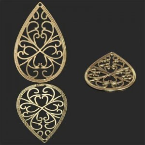 40x25mm Filigree Teardrop Pendant Forever Gold™ 1pc