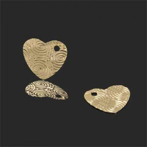 16x17mm Heart W/ Water Droplet Design Charm Forever Gold™ 5pcs
