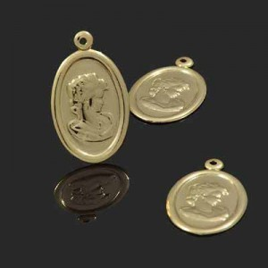 23x14mm Cameo Charm Forever Gold™ 5pcs