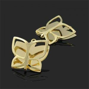 18x19mm Folded Butterfly Charm Forever Gold™ 2pcs