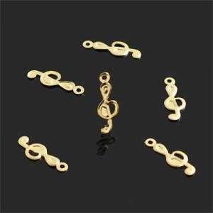 14x5mm Treble Clef Charm Forever Gold™ 20pcs