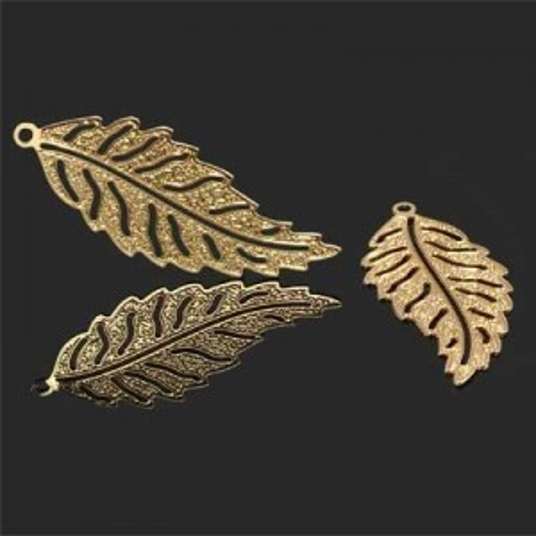 36x15mm Filigree Leaf Pendant Forever Gold™ 2pcs