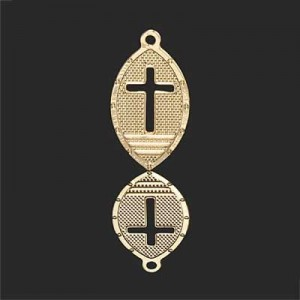 19x11mm Oval W Cut Out Cross Forever Gold™ 5pcs