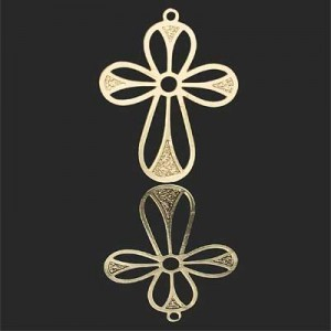 30x23mm Cross W Rounded Arms Forever Gold™ 2pcs