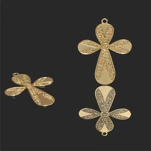 29x22mm Cross W Rounded Arms Forever Gold™ 2pcs