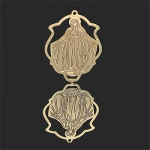 33x25mm Our Lady of Miraculous Medal Shield Pendant Forever Gold™ 2pcs