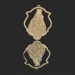 33x25mm Mother and Child Shield Pendant Forever Gold™ 2pcs