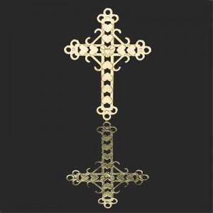 38x28mm Cross W Hearts and Budded End Caps Forever Gold™ 2pcs