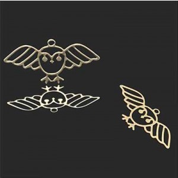 16x30mm Owl Charm Forever Gold™ 2pcs