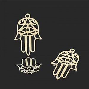 24x14mm Hamsa Charm W/ Eye Forever Gold™ 2pcs