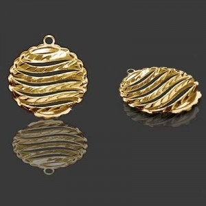 20mm Puffy Round Pendant Forever Gold™ 1pc