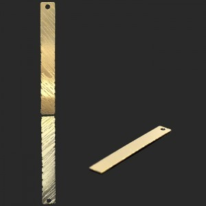 45x6mm Top Hole Bar W/Brushed Finish Forever Gold™ 5pcs