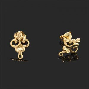 12x9mm Victorian Style Earring Base Forever Gold™ 4pcs(2pairs)