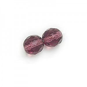8mm Dark Amethyst Fire Polished Round Bead Strung (300pc)