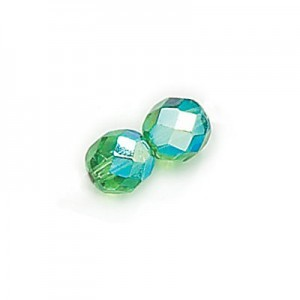 8mm Emerald AB Fire Polished Round Bead Loose (300pc)