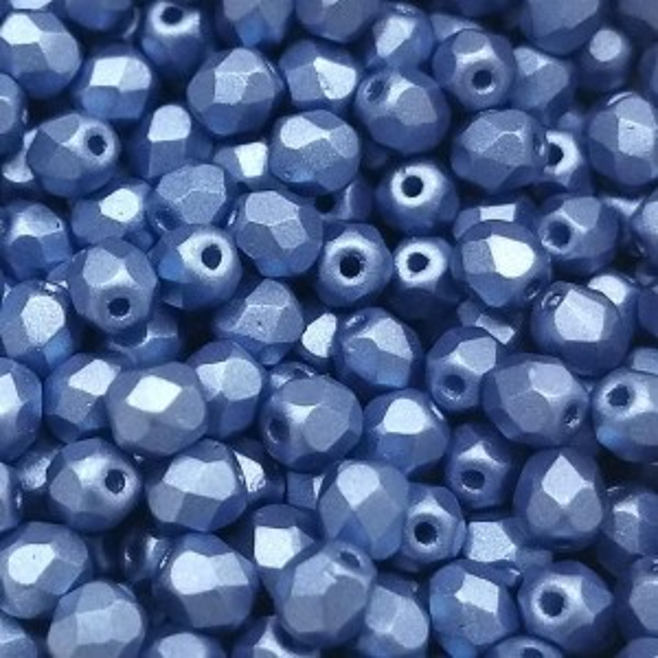 4mm HQ Metallic Blue Fire Polished Round Bead (600pc)
