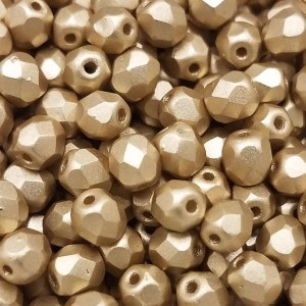 4mm HQ Metallic Soft Gold Fire Polished Round Bead (600pc)