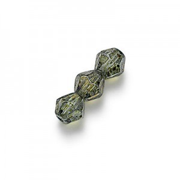 6mm Lumi Green Fire Polished Mushroom Shaped Loose (600pc)