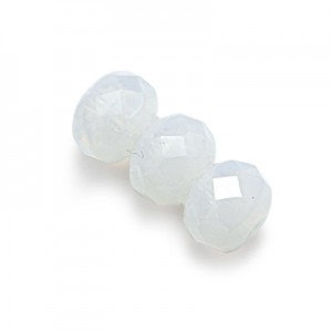 3x5mm Milky White Faceted Puffy Rondelles Loose (600pc)