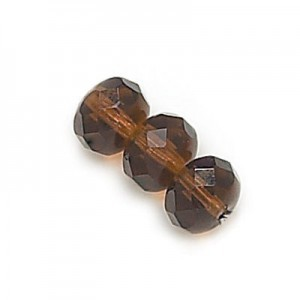 6x9mm Smoked Topaz Czech Glass Faceted Puffy Rondelles Loose (300pc)