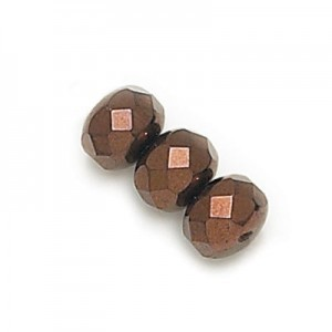 4x7mm Bronze Dark Faceted Puffy Rondelles Loose (600pc)