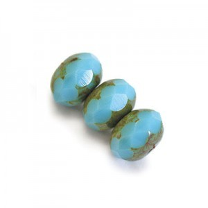 4x7mm Blue Turquoise Picasso Czech Glass Faceted Puffy Rondelles Loose (600pc)