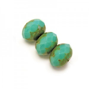 6x9mm Green Turquoise Picasso Czech Glass Faceted Puffy Rondelles Loose (300pc)