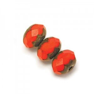 6x9mm Coral Picasso Faceted Puffy Rondelles Loose (300pc)