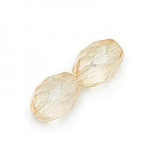 6x4mm Crystal Champagne Czech Glass Fire Polished Olive Shaped Loose (600pc)
