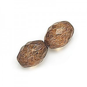 11x8mm Lumi Brown Czech Glass Fire Polished Olive Shaped Loose (300pc)