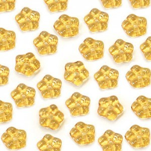 5mm Topaz Buttercup™ Flower Czech Glass Beads with Center Hole Loose (600pc)