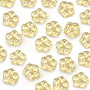 5mm Crystal Champagne Buttercup™ Flower Czech Glass Beads with Center Hole Loose (600pc)