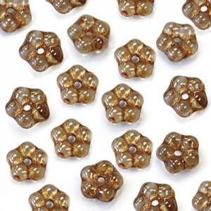 5mm Lumi Brown Buttercup™ Flower Czech Glass Beads with Center Hole Loose (600pc)
