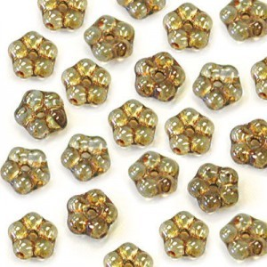 5mm Lumi Green Buttercup™ Flower Czech Glass Beads with Center Hole Loose (600pc)