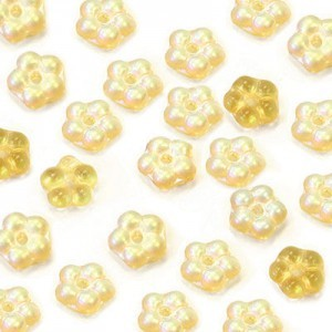 5mm Frosted Amber AB Buttercup™ Flower Czech Glass Beads with Center Hole Loose (600pc)