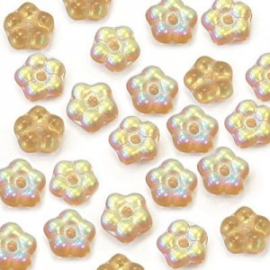 5mm Frosted Smoked Topaz AB Buttercup™ Flower Czech Glass Beads with Center Hole Loose (600pc)