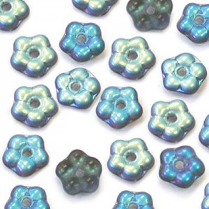 5mm Frosted Montana AB Buttercup™ Flower Czech Glass Beads with Center Hole Loose (600pc)