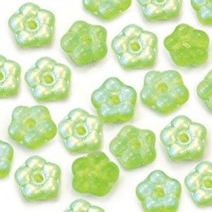 5mm Frosted Peridot AB Buttercup™ Flower Czech Glass Beads with Center Hole Loose (600pc)