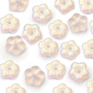 5mm Frosted Pink AB Buttercup™ Flower Czech Glass Beads with Center Hole Loose (600pc)