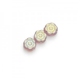 8mm Frosted Amethyst AB Flower Glass Beads Loose (300pc)