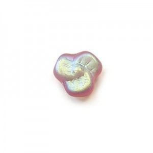9mm Frosted Amethyst AB Glass Trillium Flower Beads Loose (300pc)