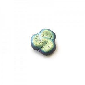 9mm Frosted Montana AB Glass Trillium Flower Beads Loose (300pc)