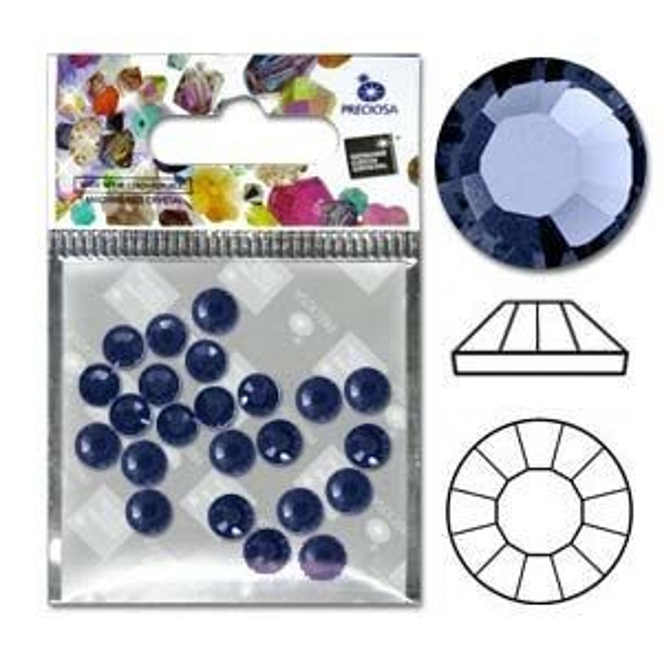 Preciosa® Viva Flatbacks 16ss(4mm) Sapphire - Pkg of 30