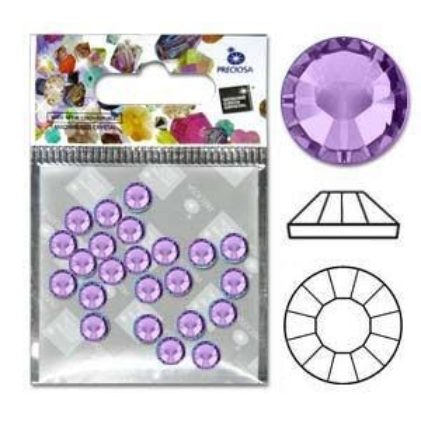 Preciosa® Viva Flatbacks 16ss(4mm) Violet - Pkg of 30