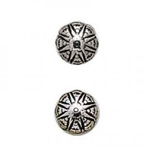 8mm Fancy Puff Bead Antique Silver