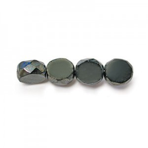 8mm Hematite Fire Polished Beveled Coin Loose (300pc)
